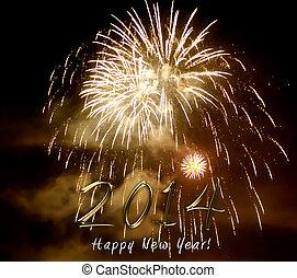 feliz año nuevo, 2014, -, fuego artificial, por, noche