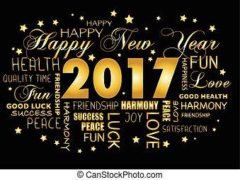feliz año nuevo, 2017, tarjeta de felicitación, -, tagcloud