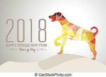 feliz, año, nuevo, 2018, perro