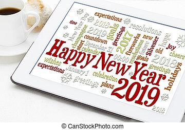feliz, año, nuevo, 2019, palabra, nube