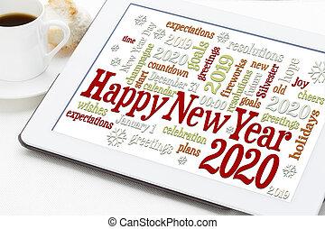 feliz, año, nuevo, 2020, palabra, nube