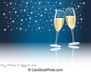 feliz año nuevo, anteojos de champán