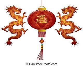 feliz, año nuevo chino, 2012, riqueza, linterna, con,...