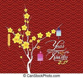 feliz, año nuevo chino, flor