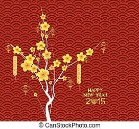 feliz, año nuevo chino, flor, lante