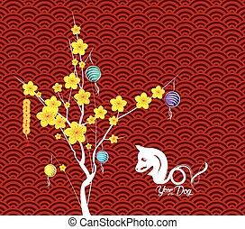 feliz, año nuevo chino, flor, linternas, fondo., año del perro