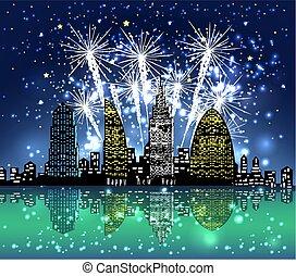 feliz año nuevo, con, fuego artificial, ciudad