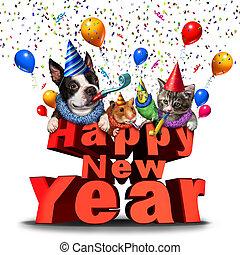 feliz año nuevo, lindo, animales