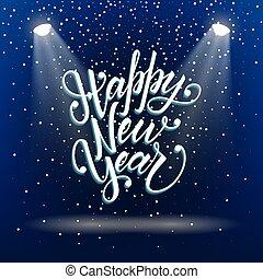 feliz, año, nuevo, saludo, único, projects., postal, su, letras, 3d