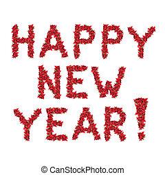 feliz año nuevo, saludo, de, rojo, navidad, flores, aislado,...