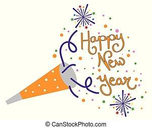 feliz, año, nuevo, soplador, fiesta