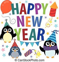 feliz, año, nuevo, tema, pingüinos