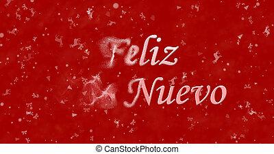 """feliz año nuevo, texto, en, español, """"feliz, ano, nuevo"""", vueltas, a, polvo, de, izquierda, en, fondo rojo"""