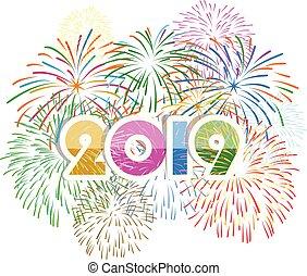 feliz, año, nuevo, vacaciones, demostrado, 2019, concepto, fuego artificial