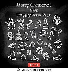 feliz año nuevo, y, feliz navidad, conjunto, en, un, pizarra
