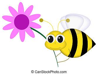 feliz, abeja, con, flor
