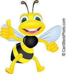 feliz, abeja, con, pulgar up