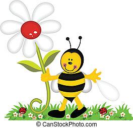 feliz, abeja, sostener la flor, en, jardín