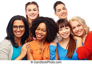 feliz, abrazar, grupo, mujeres, internacional