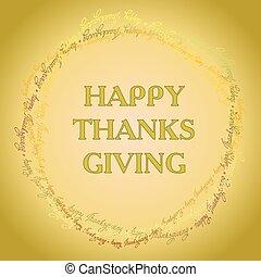 feliz, acción de gracias, día, tarjeta
