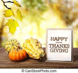 feliz, acción de gracias, tarjeta, con, calabazas