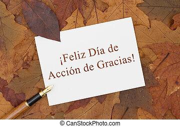 feliz, acción de gracias, tarjeta de felicitación, en, español