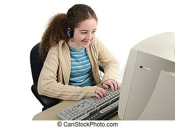 feliz, adolescente, en línea