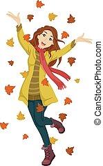 feliz, adolescente niña, otoño sale
