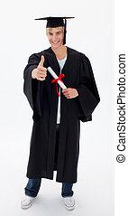 feliz, adolescente, tipo, celebrar, graduación