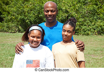 feliz, africano-americano, família
