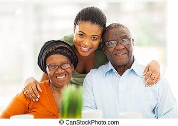 feliz, africano, familia