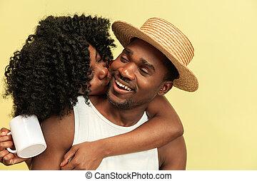 feliz, africano, familia , en, estudio