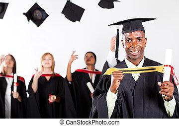 feliz, africano, graduado, em, graduação