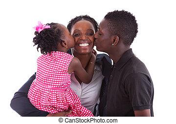 feliz, africano, madre, con, ella, niños