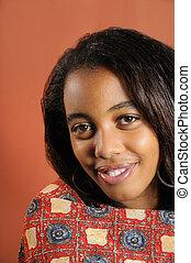 feliz, africano, menina adolescente