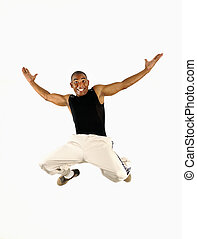 feliz, africano, tipo, saltar