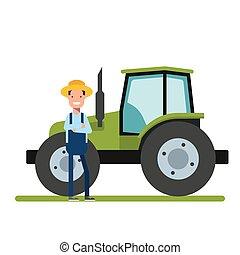 feliz, agricultor, ficar, perto, a, novo, tractor., maquinaria, para, agriculture., a, trabalhador, ligado, a, plantações, ou, em, a, garden.
