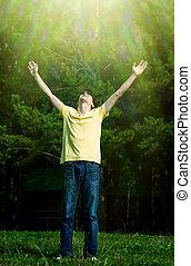 feliz, Al aire libre, hombre