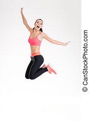 feliz, alegre, jovem, condicão física, mulher, pular