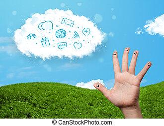 feliz, alegre, smiley, dedos, el mirar, nube, con, azul,...