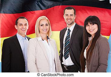 feliz, alemán, businesspeople