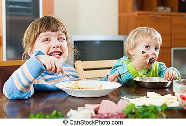 feliz, alimento, comer, crianças