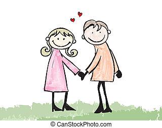 feliz, amante, namorando, doodle, caricatura, ilustração
