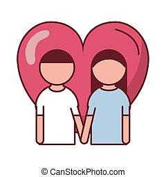 feliz, amantes, coração, dia, par, valentines
