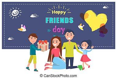 feliz, amigos, dia, cartaz, com, celebrando, família