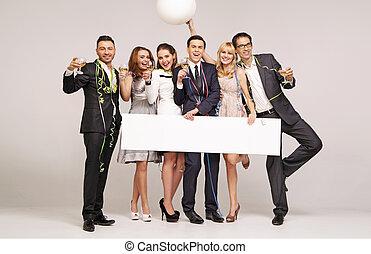 feliz, amigos, durante, um, partido eve ano novo