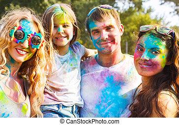 feliz, amigos, ligado, holi, cor, festival