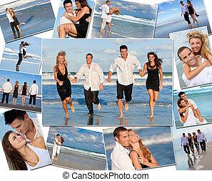 feliz, amigos, &, pares, feriado, praia, montagem