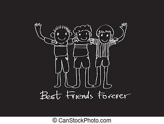 feliz, amizade, dia, e, melhores amigos, para sempre, idéia,...