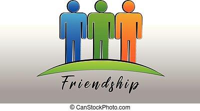 feliz, amizade, pessoas, logotipo, ícone, vetorial